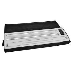 detaliu geanta caseta portabila led, profil aluminiu, print textil, abex